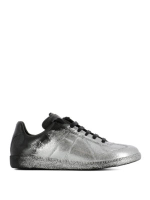 Maison Margiela: trainers - Replica glitter leather sneakers