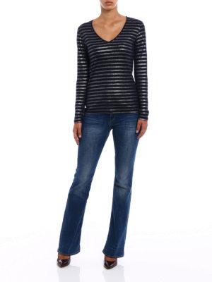 Majestic Filatures: t-shirts online - Striped cotton cashmere T-shirt