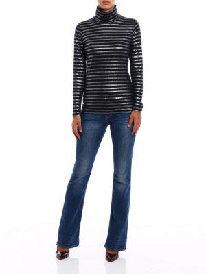 Majestic Filatures: t-shirts online - Striped turtle neck T-shirt
