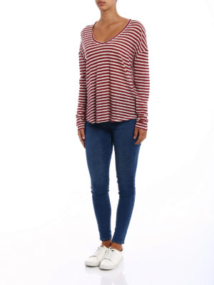Majestic Filatures: t-shirts online - Striped V neck deluxe Tee
