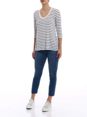 Majestic Filatures: t-shirts online - Striped viscose T-shirt