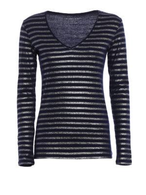 Majestic Filatures: t-shirts - Striped cotton cashmere T-shirt