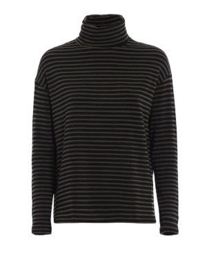 Majestic Filatures: t-shirts - Striped fleece jersey T-shirt