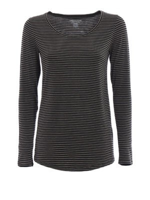 Majestic Filatures: t-shirts - Striped jersey long sleeved T-shirt