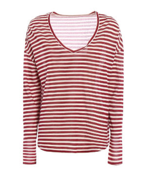 Majestic Filatures: t-shirts - Striped V neck deluxe Tee