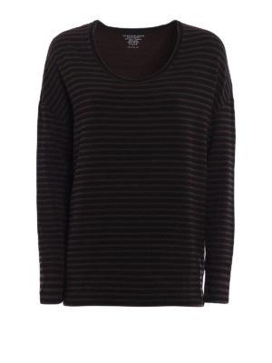 Majestic Filatures: t-shirts - Striped viscose blend T-shirt