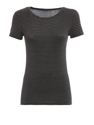 Majestic Filatures: t-shirts - Striped viscose jersey T-shirt