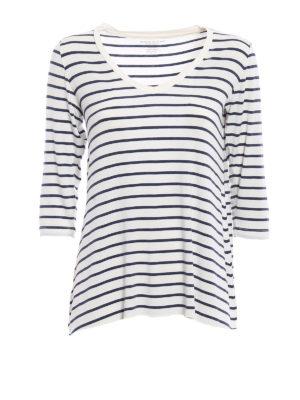 Majestic Filatures: t-shirts - Striped viscose T-shirt