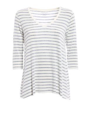 Majestic Filatures: t-shirts - V neck detailed viscose T-shirt
