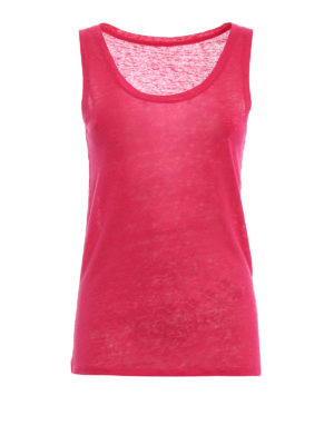 Majestic Filatures: Tops & Tank tops - Azalea pink linen jersey tank top