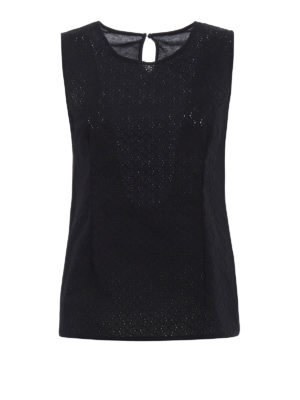 Majestic Filatures: Tops & Tank tops - Broderie anglaise and jersey top