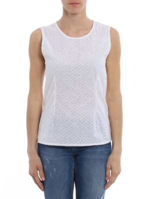 Majestic Filatures: Tops & Tank tops online - Broderie anglaise and jersey top