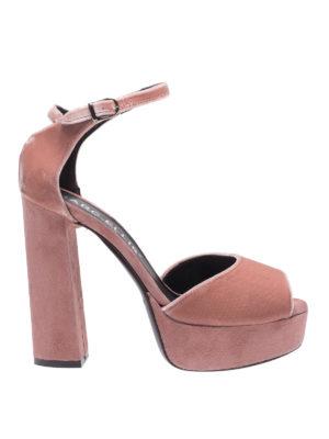 MARC ELLIS: sandali - Sandali a punta aperta rosa velluto e suede