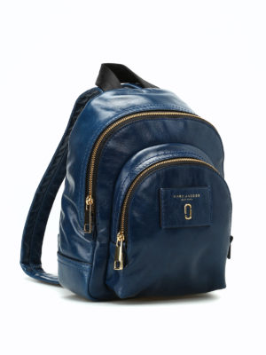 Marc Jacobs: backpacks online - Crackle blue leather mini backpack
