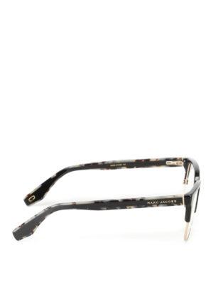 Marc Jacobs: glasses online - Black and gold half frame glasses
