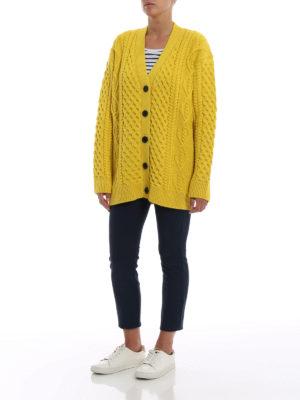 MARC JACOBS: cardigan online - Cardigan giallo in lana merino a trecce