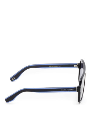 Marc Jacobs: sunglasses online - Blue acetate square sunglasses