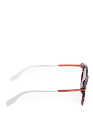 Marc Jacobs: sunglasses online - Red marbled acetate sunglasses