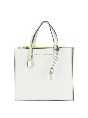MARC JACOBS: totes bags - Grind Mini white leather tote bag