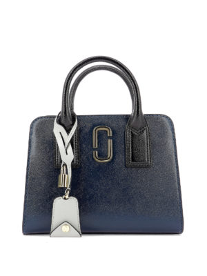 MARC JACOBS: shopper - Borsa Little Big Shot blu in pelle