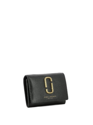 Marc Jacobs: wallets & purses online - Gold-tone logo leather card holder