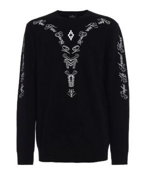 Marcelo Burlon: crew necks - Leash embroidered wool sweater