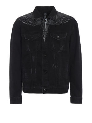 Marcelo Burlon: denim jacket - Black Wing cotton denim jacket