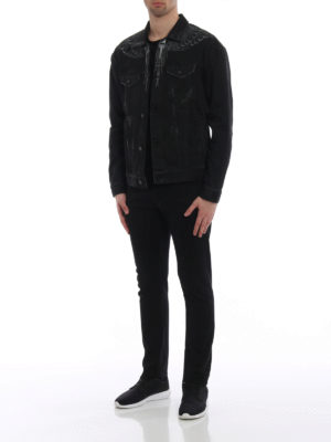 Marcelo Burlon: denim jacket online - Black Wing cotton denim jacket