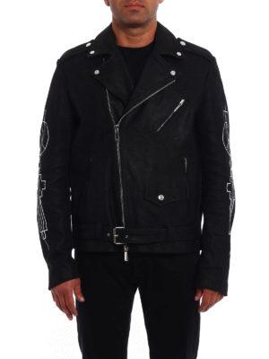 Marcelo Burlon: leather jacket online - Mansi leather jacket