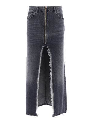 Marcelo Burlon: Long skirts - Maxi denim skirt with front vent