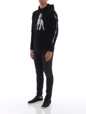 Marcelo Burlon: Felpe e maglie online - Felpa nera Dogo in cotone con cappuccio