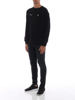 Marcelo Burlon: Felpe e maglie online - Felpa nera girocollo Wings Barcode