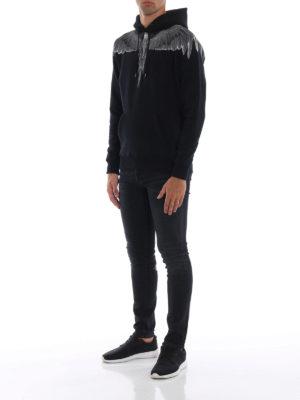 Marcelo Burlon: Felpe e maglie online - Felpa Wings in cotone nero con cappuccio