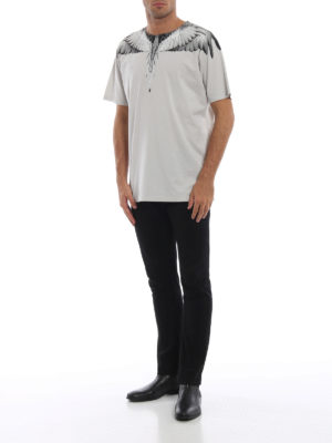 Marcelo Burlon: t-shirt online - T-shirt Wings in cotone grigio perla