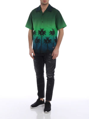 Marcelo Burlon: shirts online - Green Palm short sleeved shirt