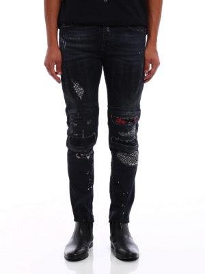 Marcelo Burlon: skinny jeans online - Ain biker slim fit jeans