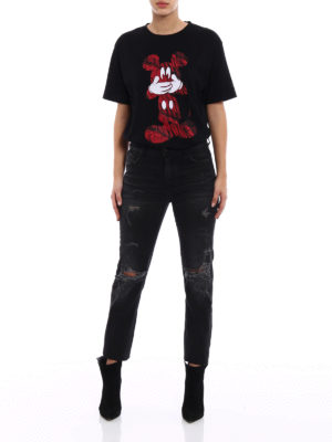 Marcelo Burlon: skinny jeans online - Wing black distressed jeans