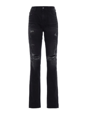 Marcelo Burlon: skinny jeans - Wing black distressed jeans