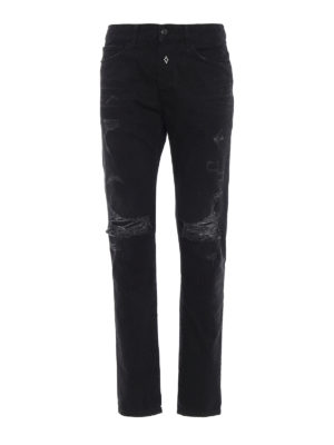 Marcelo Burlon: straight leg jeans - Black Wing detail ripped jeans