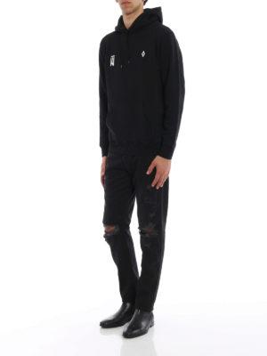 Marcelo Burlon: straight leg jeans online - Black Wing detail ripped jeans