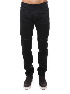 Marcelo Burlon: straight leg jeans online - Denim slim fit biker jeans