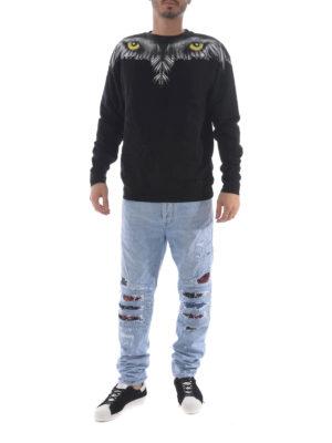 Marcelo Burlon: straight leg jeans online - Snakes patches biker jeans
