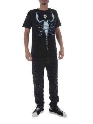 Marcelo Burlon: straight leg jeans online - Snakes patches black biker jeans