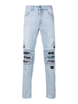 Marcelo Burlon: straight leg jeans - Snakes patches biker jeans