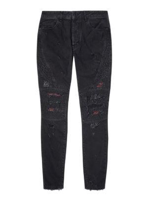Marcelo Burlon: straight leg jeans - Snakes patches black biker jeans