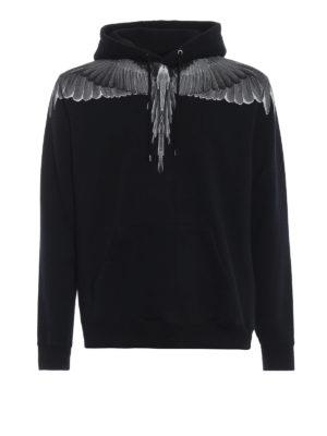 Marcelo Burlon: Felpe e maglie - Felpa Wings in cotone nero con cappuccio