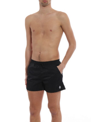Marcelo Burlon: Swim shorts & swimming trunks online - Cross embroidery black swim shorts