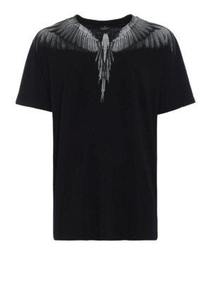 Marcelo Burlon: t-shirt - T-shirt Wings nera e grigio chiaro