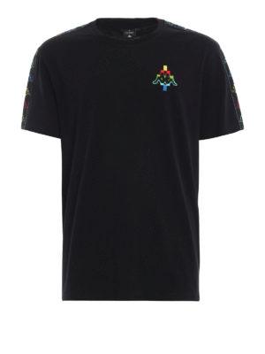 Marcelo Burlon: t-shirt - T-shirt nera Kappa con ricamo multicolore
