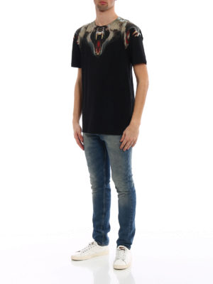 Marcelo Burlon: t-shirts online - Monkey print cotton jersey T-shirt